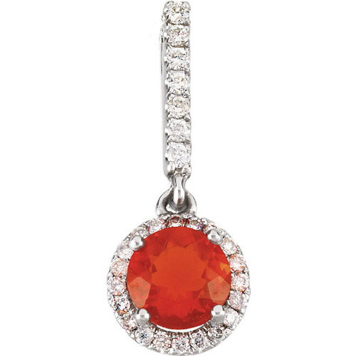 Mexican Fire Opal & Diamond Pendant