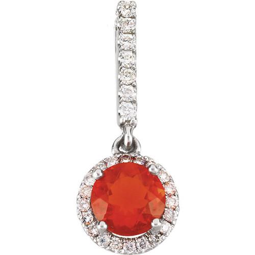 Mexican Fire Opal Diamond Pendant