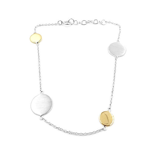 Silver & Yellow Gold Overlay Circular Bracelet