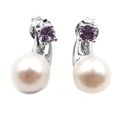Amethyst & Freshwater Pearl Earrings