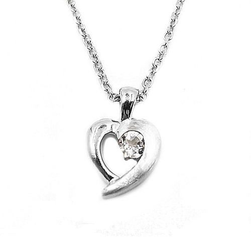 Genuine White Topaz Heart Pendant