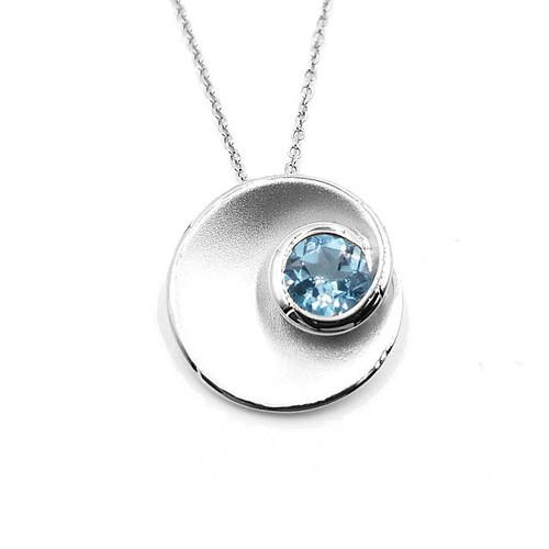 Genuine Blue Topaz Silver Pendant