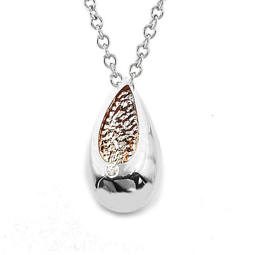 Silver & Rose Diamond Tear Drop Pendant