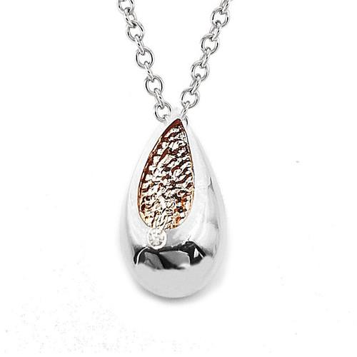 Silver & Rose Diamond Tear Drop Pendant
