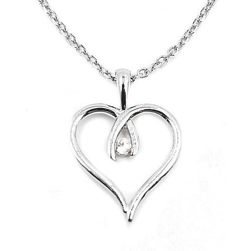 Silver White Topaz Heart Pendant