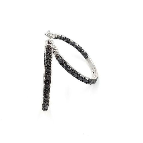 Black Diamond Silver Hoop Earrings