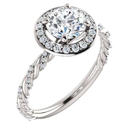 Twisted Diamond Halo Ring