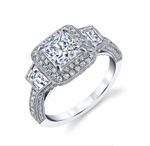 Princess Cut Double Halo Vintage Ring