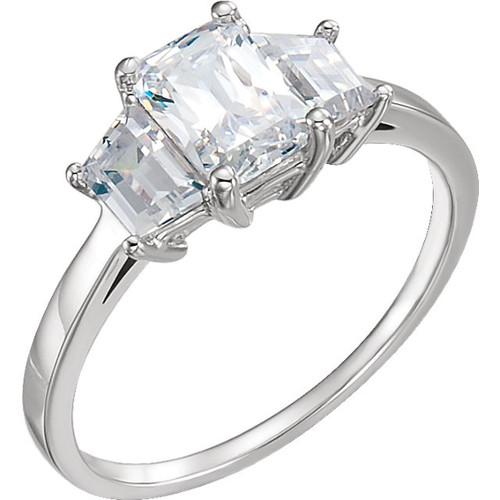 Three Stone Trapezoid & Emerald Cut Ring