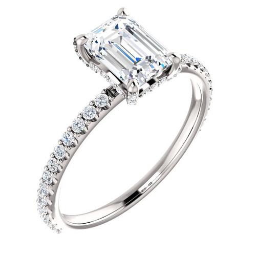 Emerald Cut Diamond Accent Ring