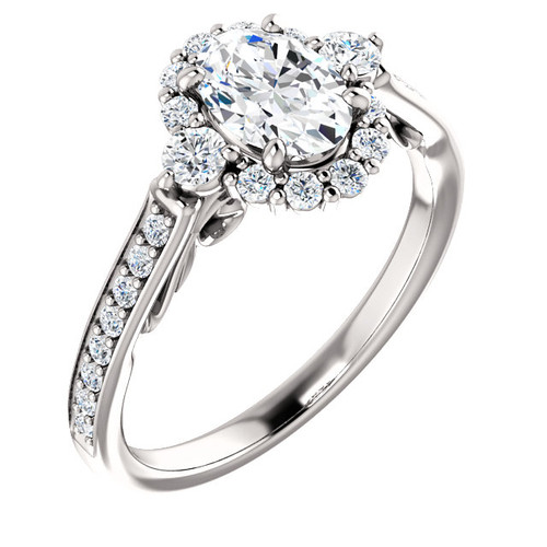 Diamond Oval Halo Engagement Ring, 1.20ct tw