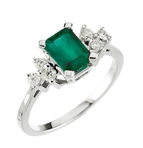 White Gold Genuine Emerald Diamond Ring