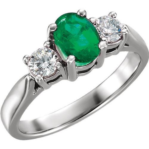 Oval Genuine Emerald & Diamond Ring