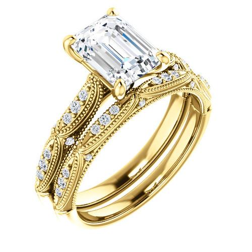 Vintage Emerald Cut Diamond Bridal Set