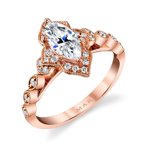 Marquise Floral Vintage Engagement Ring