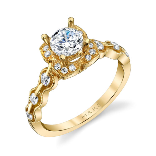 Yellow Gold Floral Diamond Halo Engagement Ring