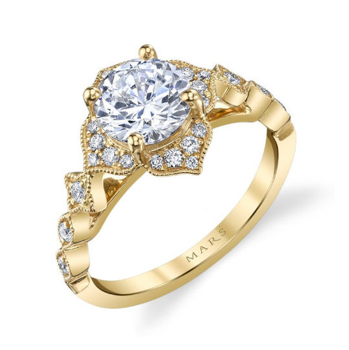 Yellow Gold Floral Halo Ring
