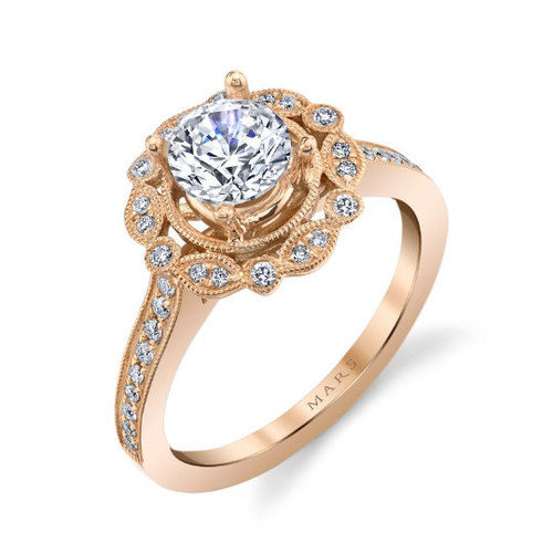 Rose Gold Floral Halo Engagement Ring