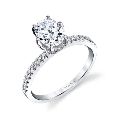 Oval Diamond Accent Engagement Ring