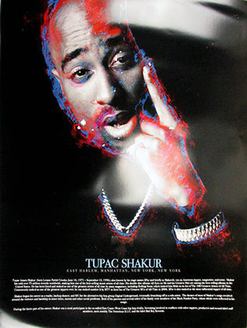 Tupac Shakur Poster With Biography 18x24