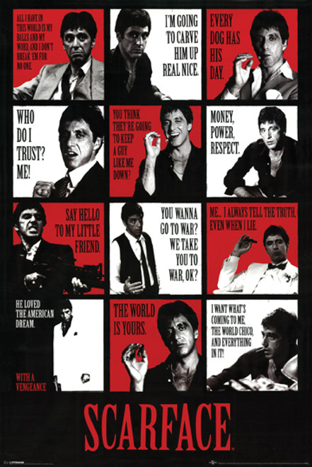 Scarface Poster Movie Quotes Al Pacino Large Print .