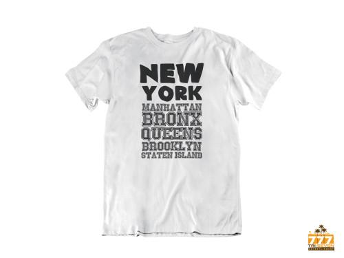 New York City Unisex T-Shirt 5 Boroughs Tee Manhattan Bronx Queens Brooklyn Staten Island (White)
