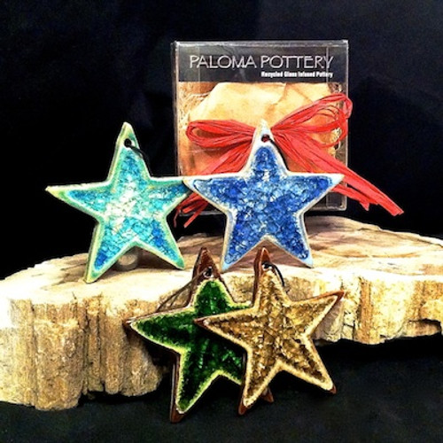Recycled Glass Star Ornament Set