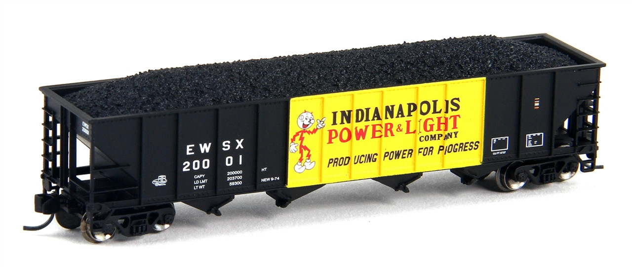 Beautiful Trainworx N 2419 18 100 Ton Quad Hopper, Indianapolis Power And Light ( Nice Look