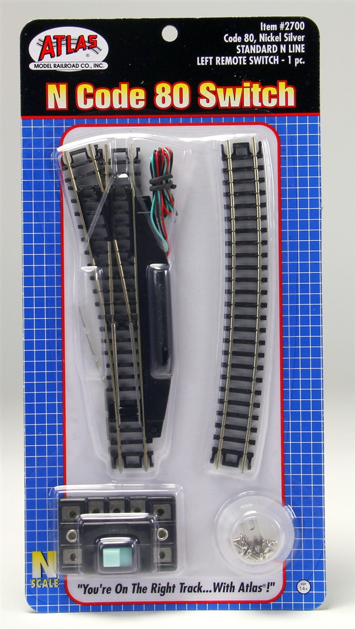 Atlas N 2700 Code 80 Track Remote Left Hand 4 Turnout Ho Railroad Wiring Switches Standard