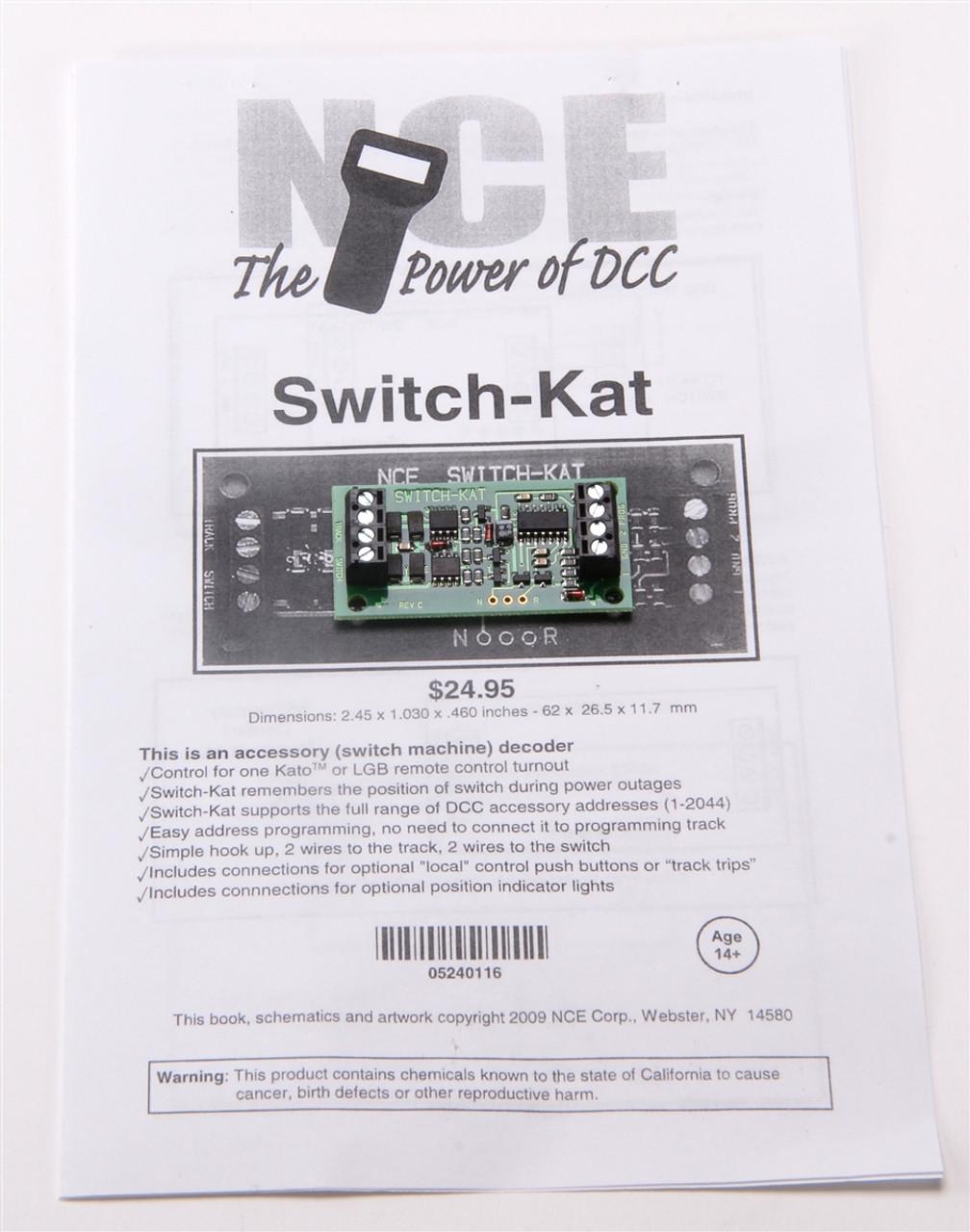 NCE 524116 (Switch-Kat) Accessory Switch Machine Decoder