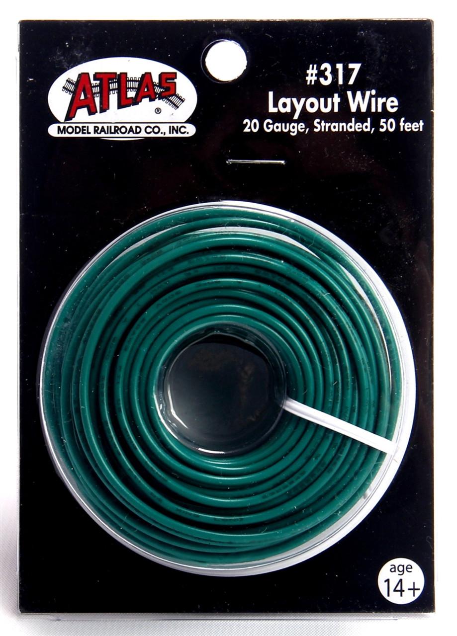 Atlas 317 50\' Green 20 Gauge Stranded Layout Wire | ModelTrainStuff.com