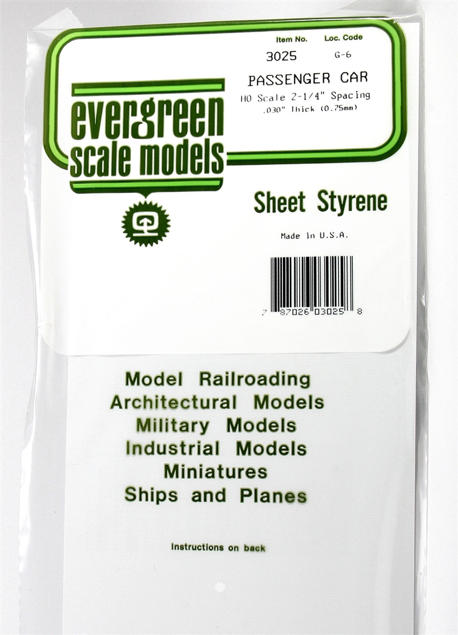 Evergreen Scale Models Ho 3025 Passenger Car Siding 030