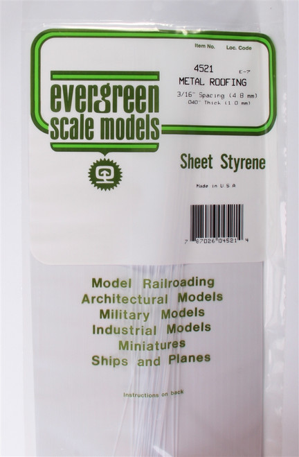 """Evergreen Scale Models 4522 Standing Seam Roof 1/4"""" Spacing"""