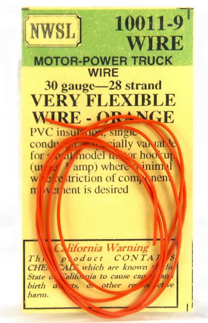 NWSL 10011-9 Very Flexible 30 Gauge 28 Strand Wire, Orange (2')