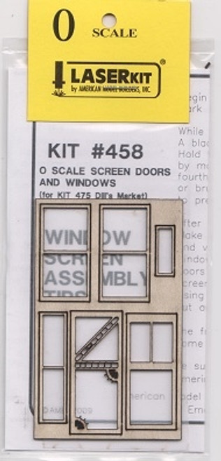 American Model Builders O 458 Screen Door and Window Set for Kit #475, Dill's Market