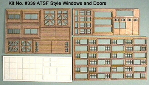 American Model Builders HO 339 ATSF Style Windows and Doors (22 Pieces)