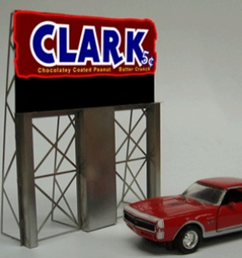 Miller Engineering HO/O 2981 Clark Bar Roadside Billboard, Animated Neon Sign Kit
