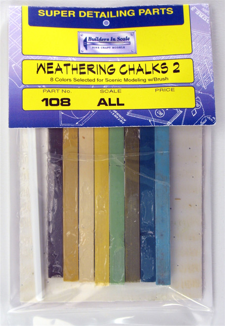 "Builders In Scale 108 ""Scenic"" Weathering Chalks II with Brush (set of 8)"
