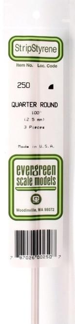 "Evergreen Scale Models 250 Quarter Round .100"" (3)"