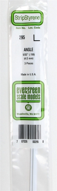"Evergreen Scale Models 295 Angle .156"" (3)"