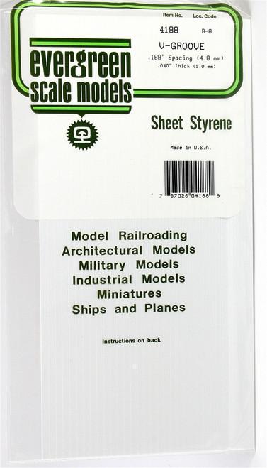 """Evergreen Scale Models 4188 6"""" x 12"""" V-Groove Sheet .040"""" x .188"""""""