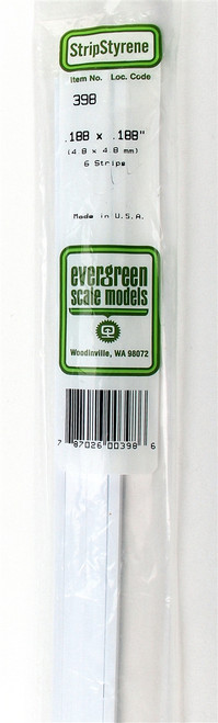"Evergreen Scale Models 398 24"" Strip Pack .188"" x .188"" (6)"