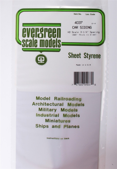 """Evergreen Scale Models HO 4037 Freight Car Siding .040"""""""