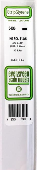 """Evergreen Scale Models HO 8406 Strip .043"""" x .066"""" (10)"""