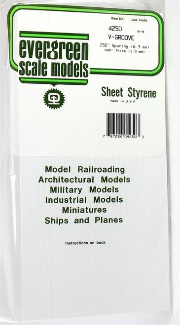 "Evergreen Scale Models 4250 6"" x 12"" V-Groove Sheet .040"" x .250"""