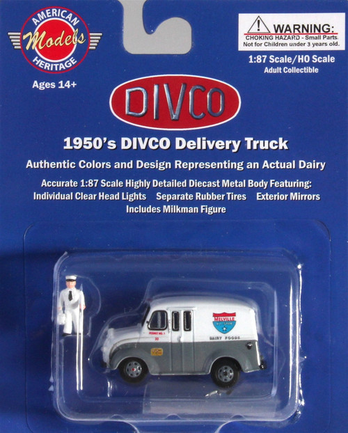 American Heritage Models HO 87-006 Divco Delivery Truck with Milkman and Carrier, Melville Dairy
