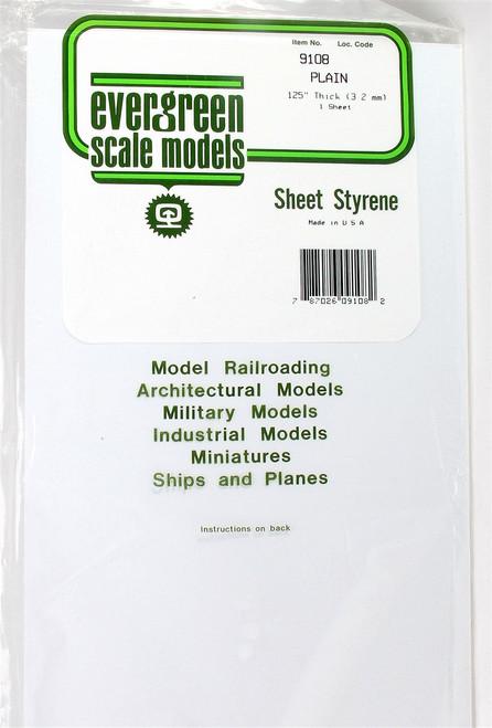 "Evergreen Scale Models 9108 8"" x 21"" Plain White Sheet .125"" (1)"