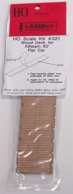 American Model Builders HO 321 Laser-Cut Wood Deck for Athearn 50' Flat Cars