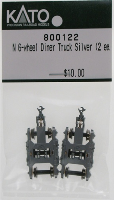 Kato N 800122 Silver El Capitan 6-Wheel Diner Truck with Silver Knuckle Coupler and Clip Mount (2)