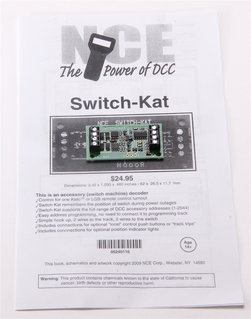 NCE 524116 (Switch-Kat) Accessory Switch Machine Decoder